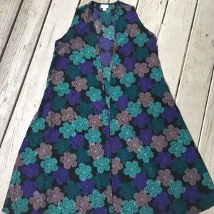Sleeveless floral duster with side slits—LuLaRoe